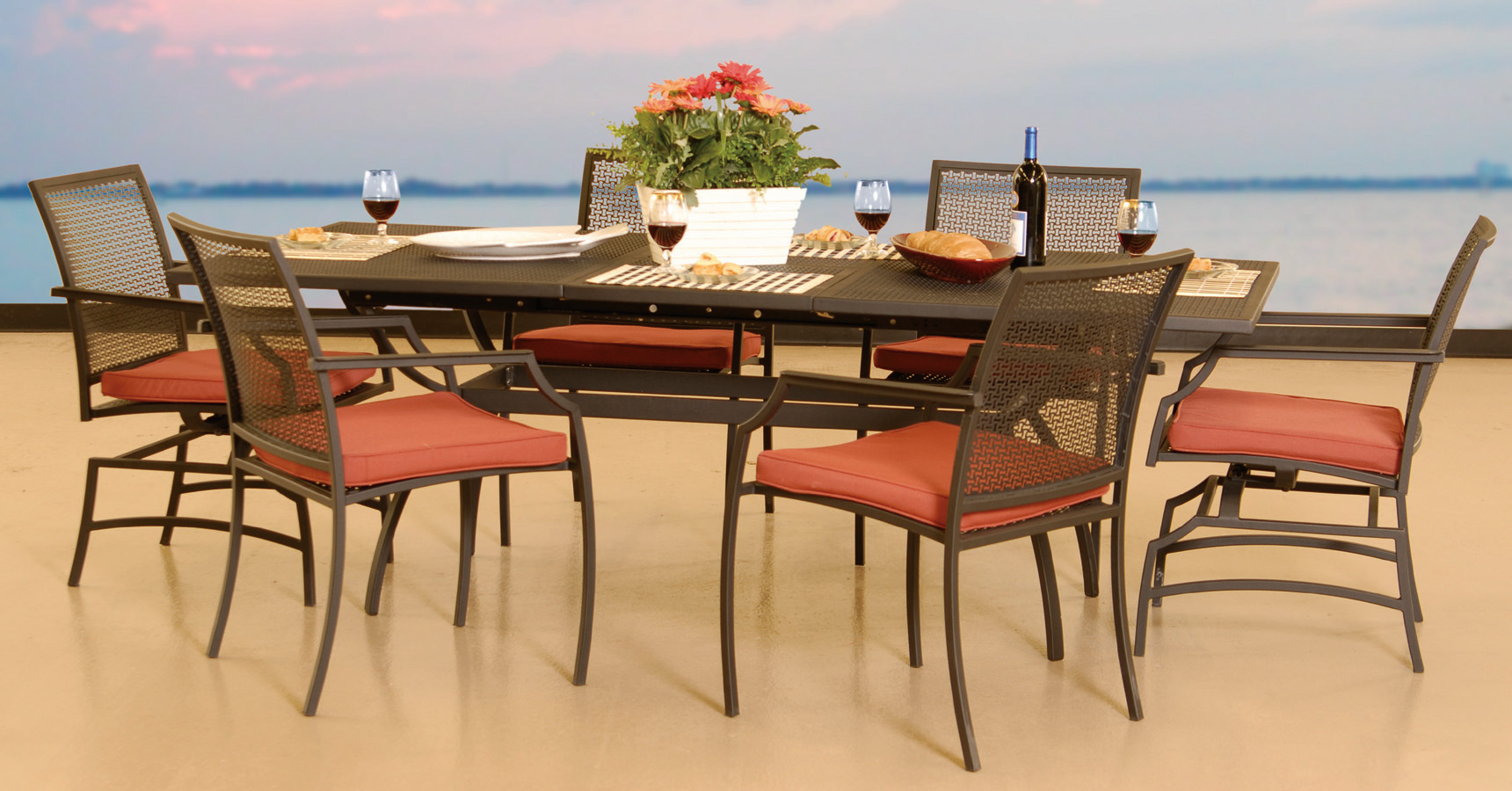 Laguna Wrought Iron 7 Pcs Dining Collection