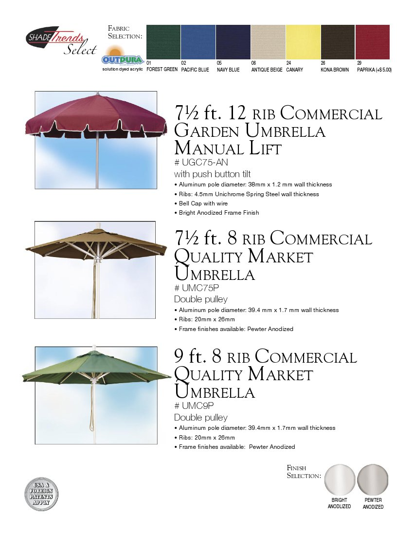 Commercial Umbrellas, Bases,  Canopy Solutions - Park N' Pool